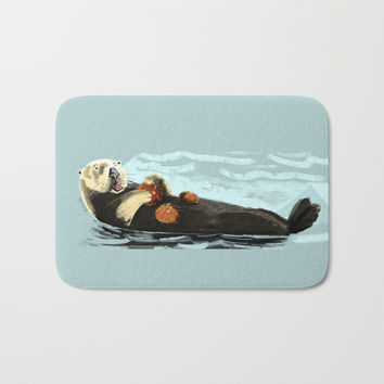 Sea Otter (c) 2017 Bath Mat by Belette Le Pink