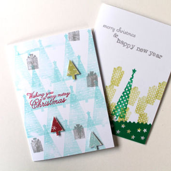 Christmas Cards Set of 10 with Christmas Tree / Personalized Handmade Holiday Greeting Card