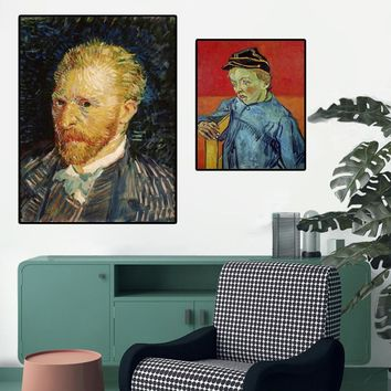 Wall Art Poster Prints on Canvas, Van Gogh Famous Abstract Portrait Canvas Paintings for Living Room Wall Home Decor No Frame