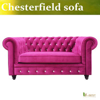 U-BEST High quality  Velvet Lyre Chesterfield Sofa,Vintage red-pink Velvet Sofas,2 seater couches & loveseats