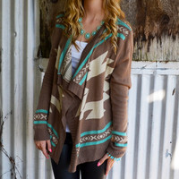 Curling Willow Aztec Open Collar Cardigan Mocha