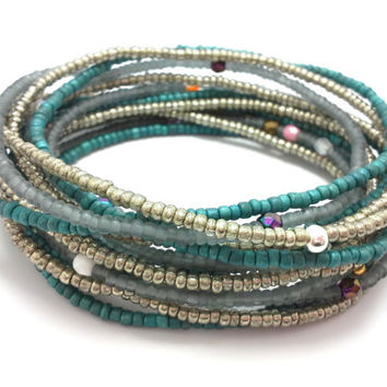 Seed bead wrap stretch bracelets, stacking, beaded, boho anklet, bohemian, stretchy stackable multi strand, teal silver grey metallic