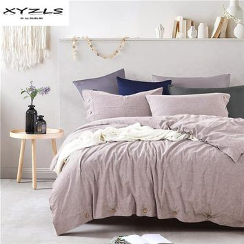 Cool XYZLS 100% Linen Duvet Cover Set Modern Solid Color Bedding Sets Twin Queen King Size Quilt Cover Pillowcases Home TextileAT_93_12