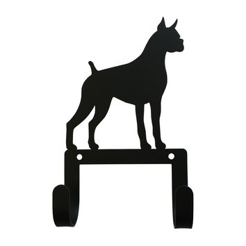 Wrought Iron Boxer Dog Leash & Collar Wall Hook