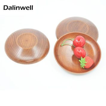 3PCS Brand Dalinwell Wooden Japanese Food Sweets Fruit Dessert Coffee Dish Round Wood Prato Dinner Tableware Plates Tray