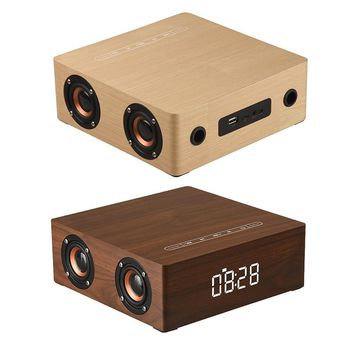 Q5C Alarm Clock Version Wooden Loudspeakers HIFI Stereo Bass Surround Sound Subwoofer Home Mobile Phone Computer Soundbar