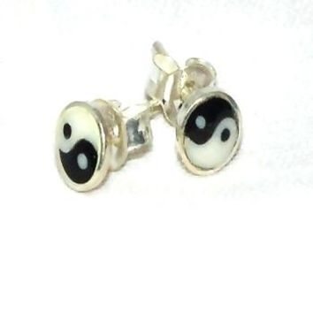 Sterling Silver Yin Yang Stud Earrings