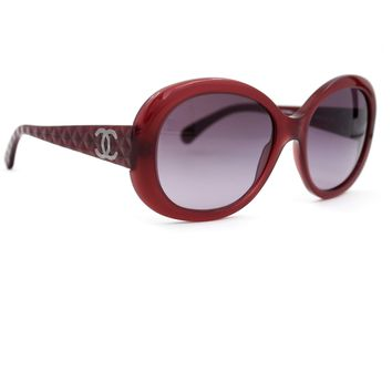 CHANEL Sunglasses Burgundy Oval Frame with Burgundy Gradient Lenses 5188