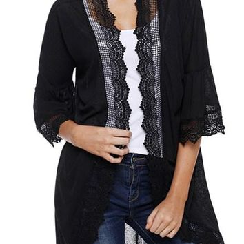 Black Sheer Lace Details Ruffle Sleeve Cardigan