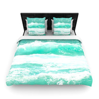 "Monika Strigel ""Maui Waves"" Teal Green Woven Duvet Cover"