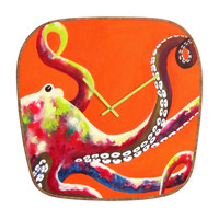 Clara Nilles Jeweled Octopus On Tangerine Modern Clock