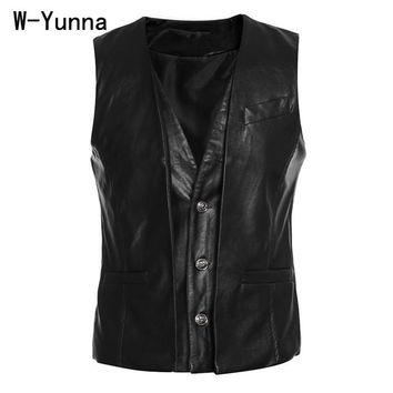 W-Yunna New Men's Slim Vest Sleeveless Jacket High Quality Casual PU Leather Vests Button Open V-neck Men's Coat