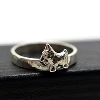 Engravable Ring, Scottie Dog Ring, Custom Engraving, Silver Dog Ring, Personalized Jewelry, Handforged Silver Ring, Animal Jewelry