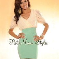 Ivory Mint Green Puffy Sleeves Draped Top Bandage Dress