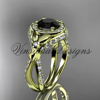 14kt yellow gold leaf and vine, flower engagement ring, Black Diamond VD10065