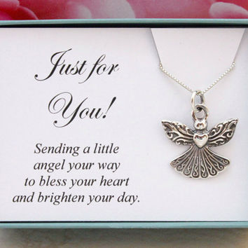 Christmas gift Angel necklace Sterling silver guardian angel charm on a box chain, in a gift box, long distance Christmas gifts for her