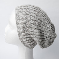 Summer Beanie / Gray & Silver / Cotton Mix