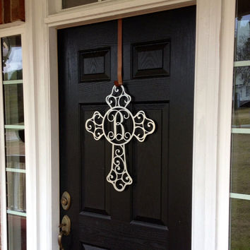 Cross Metal Monogram Door Hanger/ Front Door Wreath/ Wall hanger/ Anniversary gift/ Housewarming/Outdoor Wall Art