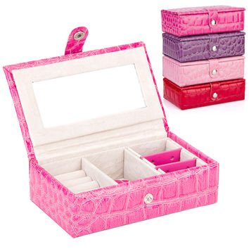 Novelty, fashion women's leather  jewelry boxes, cosmetic bags, jewelry boxes, four colors to choose