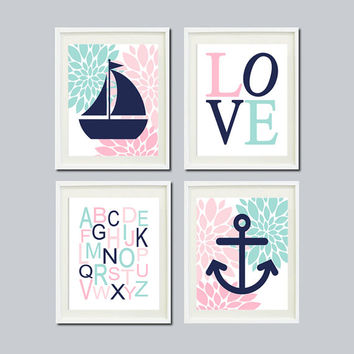 Nursery Wall Art Nautical Dahlia Pink Navy Aqua Wall Art Anchor Sailboat Love ABC Set of 4 Prints Baby Girl Nursery Bathroom Bedroom Decor