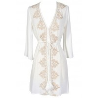 Lily Boutique Cute Ivory Beach Coverup, Ivory Tie Front Coverup, Embroidered Beach Coverup, Ivory and Beige Embroidered Beach Coverup, Ivory and Beige Embroidered Open Tie Coverup Lily Boutique