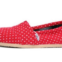 Toms Women's Classic Polka Dot Linen Ankle-High Cotton Flat Shoe
