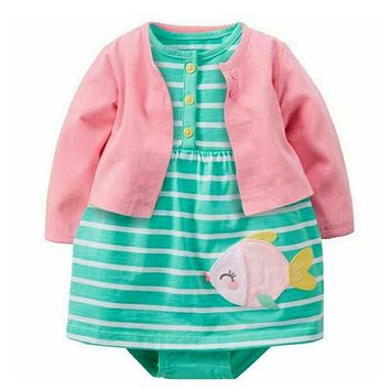 2018 New Time-limited Solid Baby Newborn Girls 2 Pcs Sets Full Glove O-neck Dress With Fish Combines With 100% Cotton Clothing