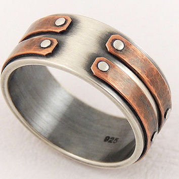Silver copper unique men ring - men's engagement ring,unique men ring,men's rustic ring,wedding ring