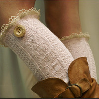 Woodland  Legwarmers -  Real wood button peeking out from the top - pretty look for your legs and boots - lace leg warmers