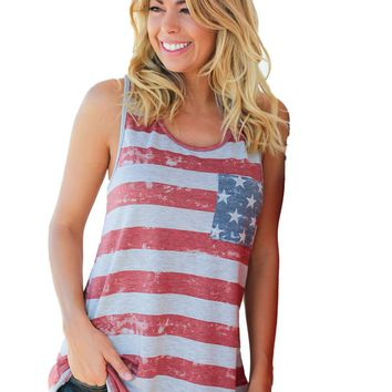 Gray American Flag Tank Top with Bow Detail