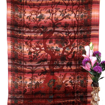 Twin Red tree of life,bedspread,mandala tapestries,tapestry,wall hanging,table cloth tapestry,tapestries,hippie tapestries,indian tapestry