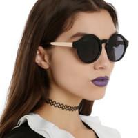 Black Gloss Gold Arm Round Sunglasses