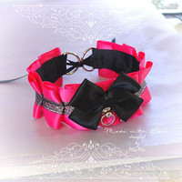 Kitten Pet Play Cat Collar Choker Necklace Hot Pink Neon Black Glitter Sparkly Bell Bow Kitty Cute pastel goth Lolita Neko BDSM DDLG