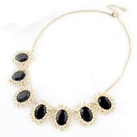 LUCLUC Black Gemstone Geometric Necklace - LUCLUC