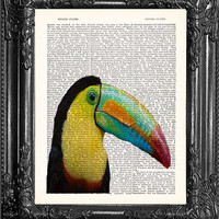 Colorful Bird Poster-Toucan Poster-Dictionary Print- Book Print-Page Art-Antique Book Page-Print On Dictionary Book Page-Dorm Gift Poster