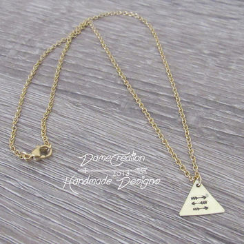 Tiny Triangle Necklace, Geometric Necklace Minimalist Jewelry, Arrow Necklaces for Women, Brass Triangle Necklace