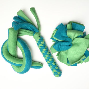 Fleece Dog Toys Toss Tug Chew Fetch. Indoor and Outdoor Play. Medium - Large Dog Blue and Green