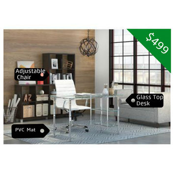 The Classy Home Office BUNDLE w/Glass Desk + Adjustable Chair + PVC Mat