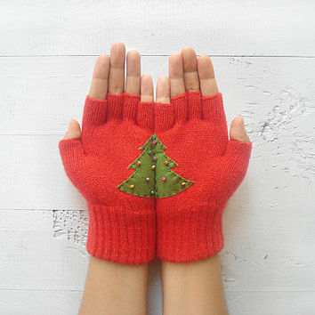 Christmas Gift, Christmas Tree, Red Gloves, Fingerless Gloves, Xmas, New Year, Special Gift, Holiday Gift, Gift For Her, Unique Gift, Green