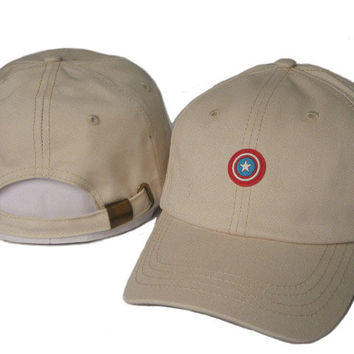 Khaki Captain America Embroidered Baseball Cap Hat