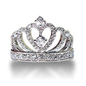 Tenfit 925 Silver Princess Crown Ring with CZ Inlaid Fashion Jewelry Engagement Wedding Ring for Women
