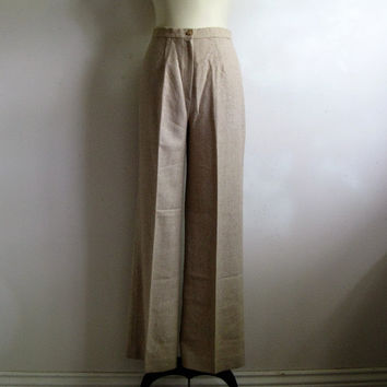 80s Stripe Beige White Pants Vintage 1980s Chevron Bell Bottom Wool Blend Pants Med-Lrg