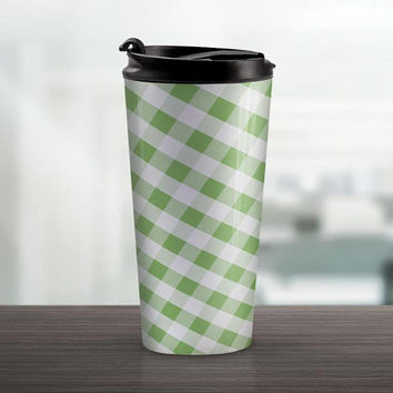 Green Gingham Travel Mug - Pattern White Green Gingham - 15oz Stainless Steel - Made to Order