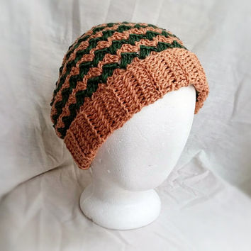 Men's crochet hat Chevron stripes beanie Slouchy rolled brim cap Green tan organic cotton