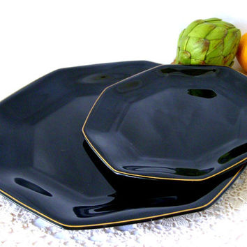 Arcoroc France Black Dinnerware,  Set of 8 Dinner and Salad Plates, Black Shanghai Gold, Arcoroc Black China, Octagonal Plates, Gold Trim