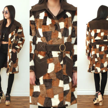 Vintage 70s PATCHWORK FUR Belted Avante Garde Coat Jacket // Black Brown White // Boho Gypsy Hippie Hipster // XS / Small / Medium
