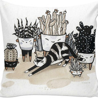 cat and plants pillow