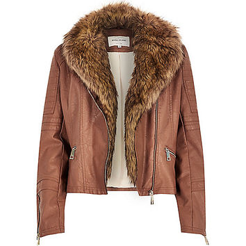 River Island Womens Brown leather-look faux fur biker jacket