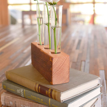 Rustic laboratory bud vase, test tube bud vase, vintage fir, industrial flower vase, reclaimed wood vase, glass bud vase