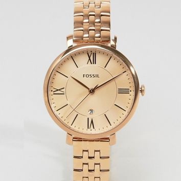 Fossil Rose Gold Jacqueline Watch ES3435 at asos.com